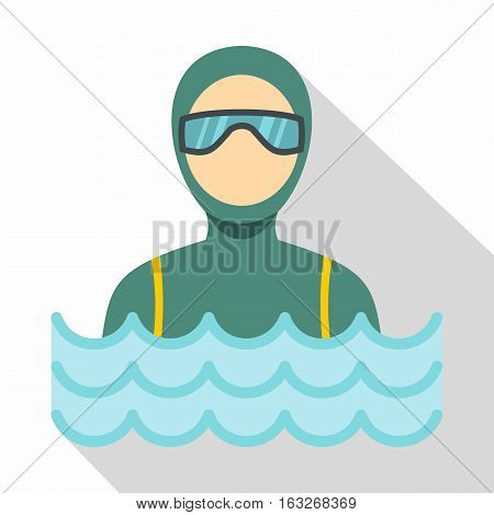 Scuba diver man in diving suit icon. Flat illustration of scuba diver man in diving suit vector icon for web