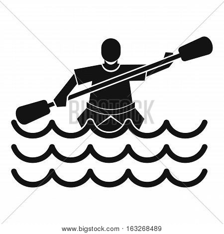 Male athlete in a canoe icon. Simple illustration of male athlete in a canoe vector icon for web