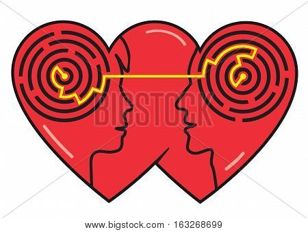 Psychology Of Love. Couple heads silhouettes with maze symbolizing understanding between man and woman. Vector available.