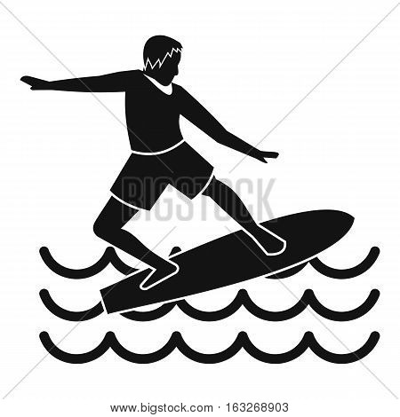 Surfer man icon. Simple illustration of surfer vector icon for web