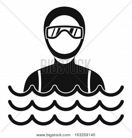 Scuba diver man in diving suit icon. Simple illustration of scuba diver man in diving suit vector icon for web