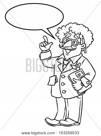 Coloring picture of funny scientist or inventor. An old man in glasses and suit with curly hairs, raised index finger. Profession series. Childrens vector illustration.