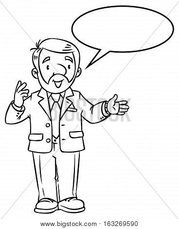 Coloring book of funny univercity lector. A man with a beard is giving a lecture or lesson, or tells something. Profession series. Childrens vector illustration.