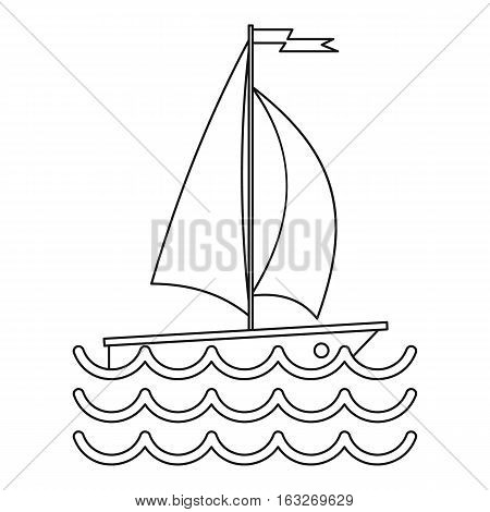 Ship yacht icon. Outline illustration of ship yacht vector icon for web