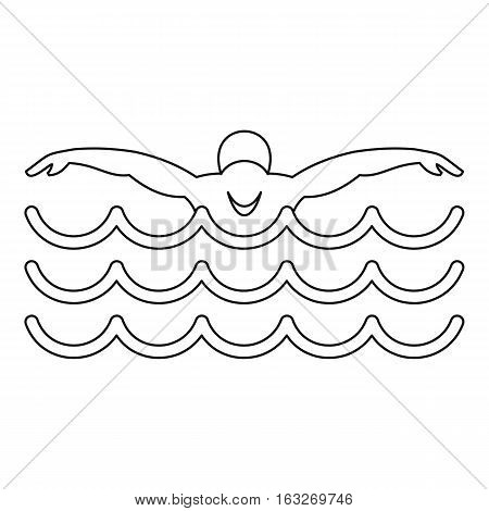 Swimmer icon. Outline illustration of swimmer vector icon for web