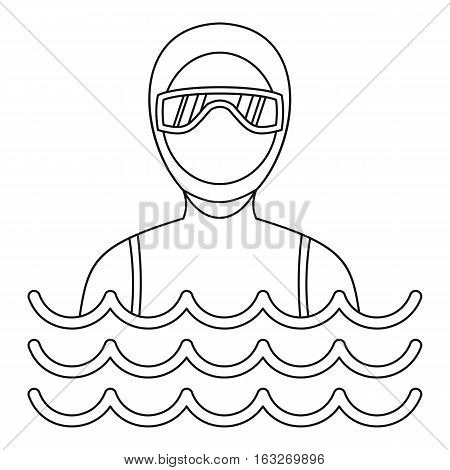 Man in a diving suit icon. Outline illustration of man in a diving suit vector icon for web