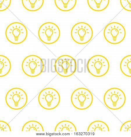 Vector illustration of seamless pattern with yellow bold icons in flat line style. Linear bulb. Use in web project applications, posters and banners. Outline isolated object. Texture Background.