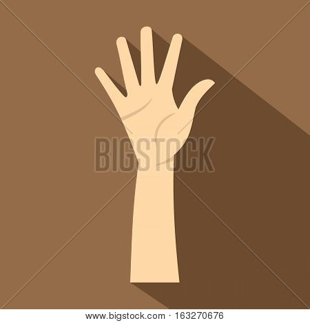 Hand showing five fingers icon. Flat illustration of hand showing five fingers vector icon for web