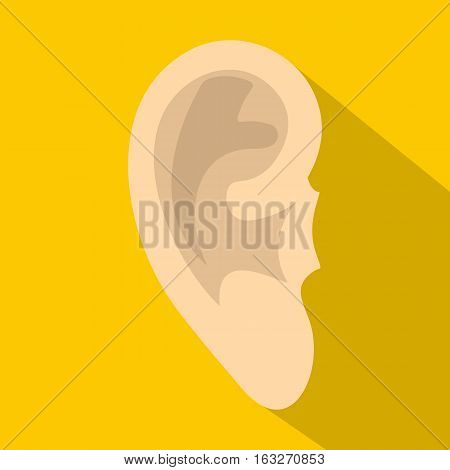 Human ear icon. Flat illustration of human ear vector icon for web