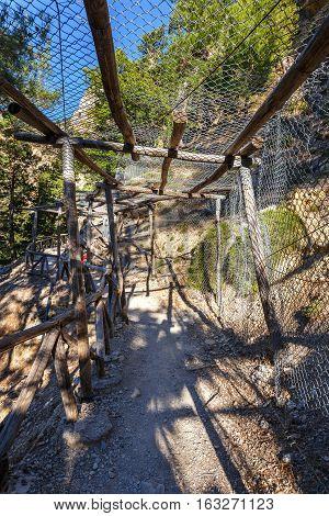 Mountain trail in Samaria Gorge on Crete Grece