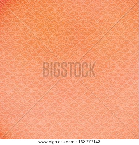 Hand drawn vector orange doodle pattern with old texture and spots.