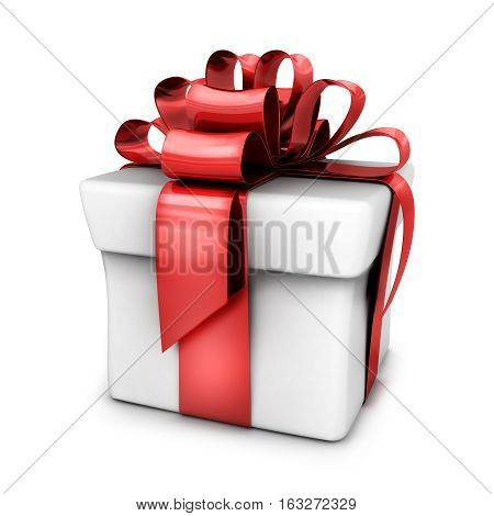 Gift white and red ribbon. 3d illustration