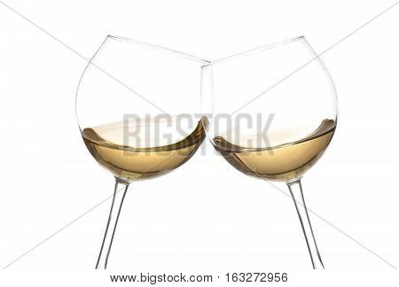 White Wine Collection - Cheers! Clink Glasses With White Wine. Isolated On White Backgroundwine Swir