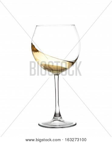 White Wine Swirling In A Goblet Wine Glass, Isolated On A White Background