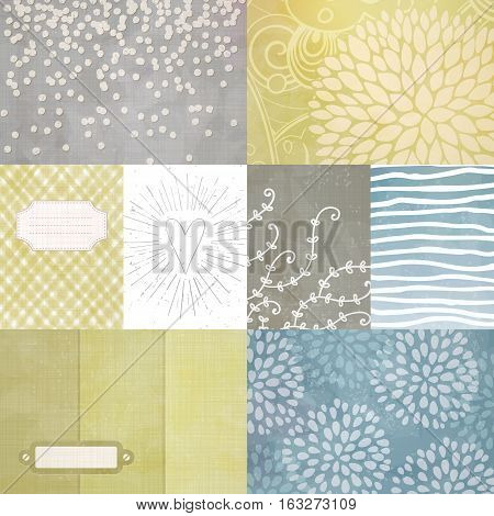 Vector set of journaling cards for scrapbook and design with floral pattern, doodle, heart, stripes and tags.