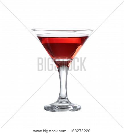 Red Wine In A Glass Of Martini On The Isolate