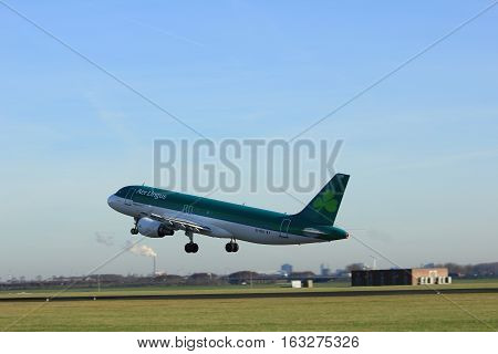 Amsterdam the Netherlands - November 25th 2016: EI-DEH Aer Lingus Airbus A320-214 taking off from Polderbaan Runway at Amsterdam Airport Schiphol