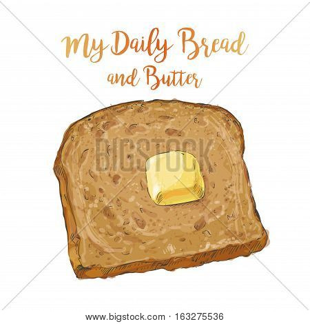 whole grain Sliced Brown bread with a pat of butter isolated on white background top view vector illustration isolated