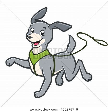 Vector cartoon happy dog walking on leash