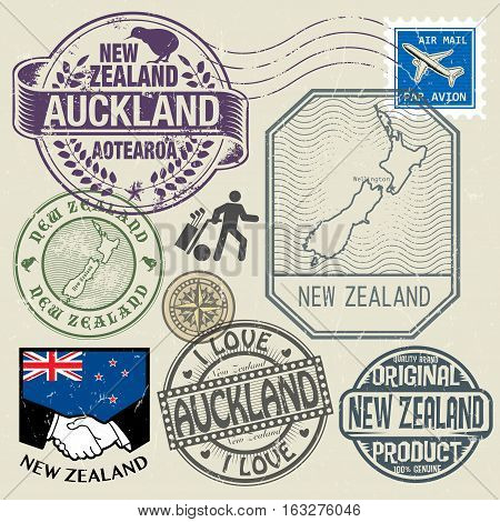 Grunge rubber stamp and symbols set with text and map of New Zealand vector illustration