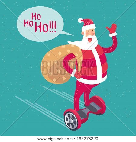 Vector Santa Claus on a hoverboard hurry with gifts new year