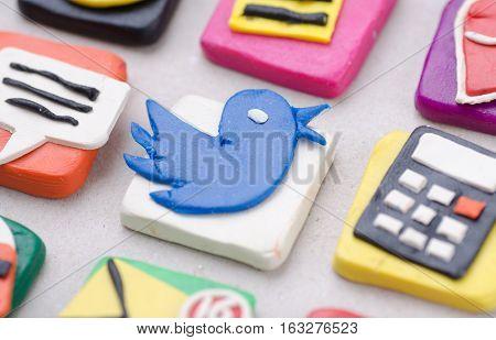 Handmade Application Icons From Plasticine. Macro Photo