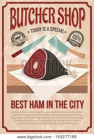 Butcher shop poster with gammon image on counter and advertising of best ham in city flat vector illustration