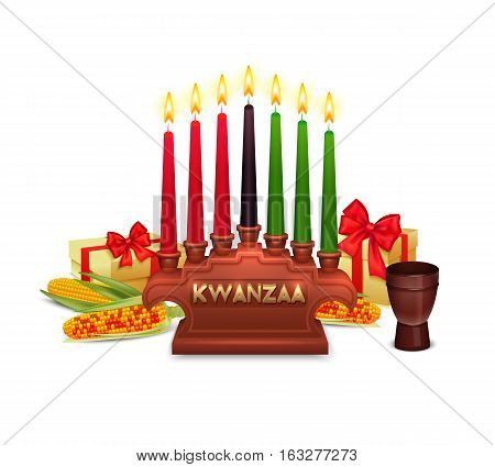 African americans kwanzaa holiday symbols composition poster with candles holder traditional presents corn ears and colors vector illustration