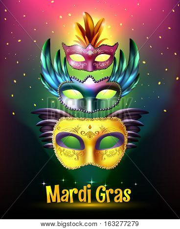 Masquerade background poster with realistic set of glossy carnival masks with wings stellar background and title vector illustration