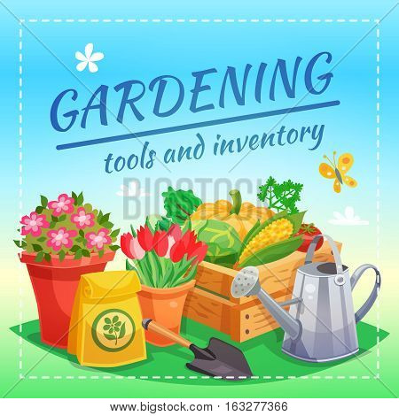Gardening tools and inventory design concept with package of fertilizer box of farming harvest spade and watering can flat vector illustration