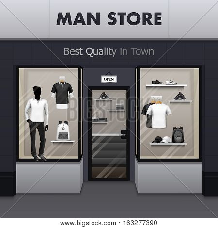 Mens sportswear workout and outdoor active wear best quality fashionable clothes store window display street view vector illustration