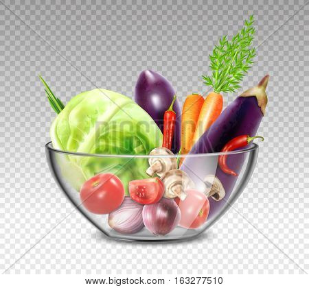 Colorful still life painting with vegetables in glass bowl on transparent background in realistic style vector illustration