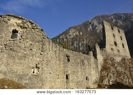 The 12th century Grad Kamen castle in Slovenia.