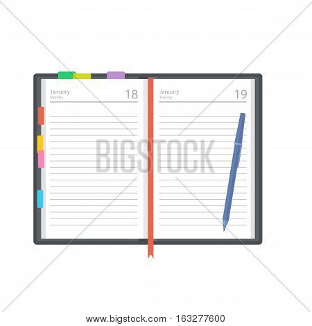 Open diary planner or notebook vector illustration in flat style. Office and business supplies for lists reminders schedules or agendas.