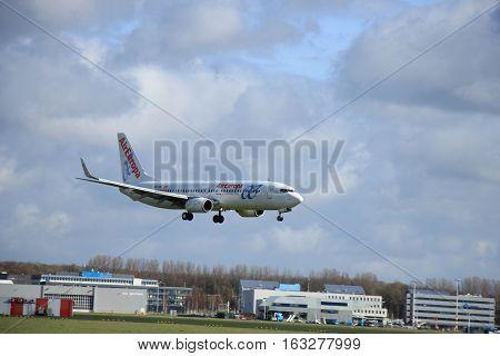 Amsterdam The Netherlands april 11 2015: EC-JBK Air Europa Boeing 737 approaching runway 09-27 Buitenveldert