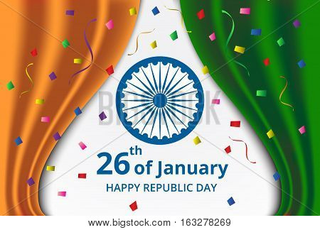 Happy Indian Republic Day celebration on curtain color of india flag and confetti greeting card