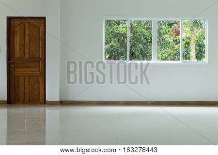 Empty White Room Interior In Residential House Building
