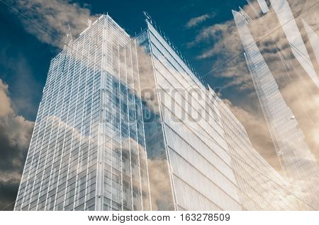Modern city office buildings with glass windows