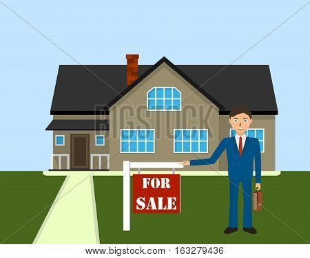 Man realtor shows a house for sale. Buy apartment. Sale housing Real estate broker cottage for sale.