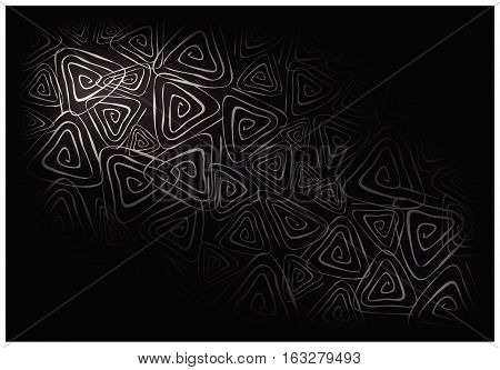 Illustration of Beautiful Black Vintage Texture  Background with Triangle Spiral Pattern for Add Content or Picture.