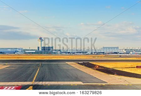 FRANKFURT, GERMANY - AUGUST 12, 2013: Airport in Frankfurt, Germany in the morning