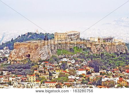 View of Athens with the Acropolis from the Licabetto, Athens, Greece