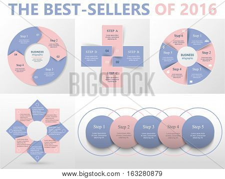 Vector circle infographic set. Business diagrams round arrows graphs puzzle presentations and charts. Data infographics with 4 5 6 and 8 options parts steps cycle processes. Colors of the year 2016 Rose Quartz and Serenity