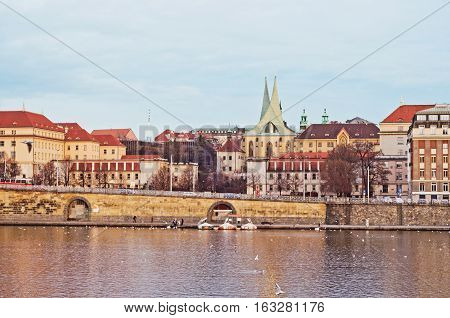 promenade in the city of Dresden the house and the river
