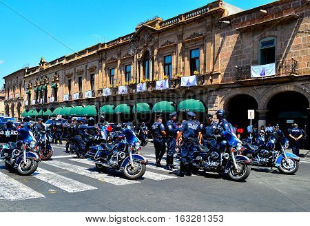 MORELIA,MICHOACAN,MEXICO-May 3,2014: Local police in Morelia rally to show their solidarity against cartel activity in their city.