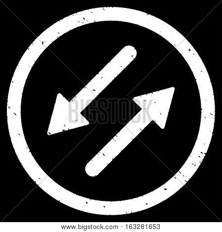 Diagonal Exchange Arrows rubber seal stamp watermark. Icon vector symbol with grunge design and unclean texture. Scratched white ink emblem on a black background.
