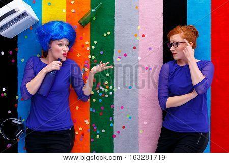 Drunk Woman Talking To Her Geek Friend
