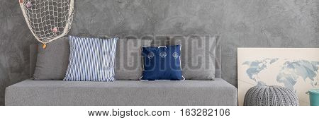 Grey Couch With Pillow