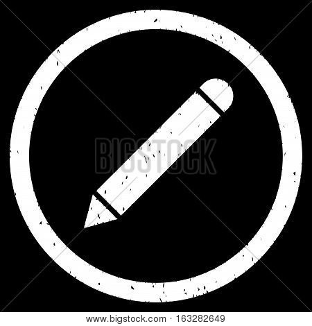 Pencil rubber seal stamp watermark. Icon vector symbol with grunge design and dust texture. Scratched white ink sign on a black background.