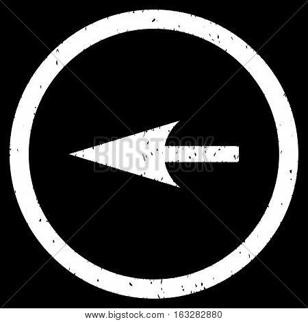 Sharp Left Arrow rubber seal stamp watermark. Icon vector symbol with grunge design and dirty texture. Scratched white ink sign on a black background.